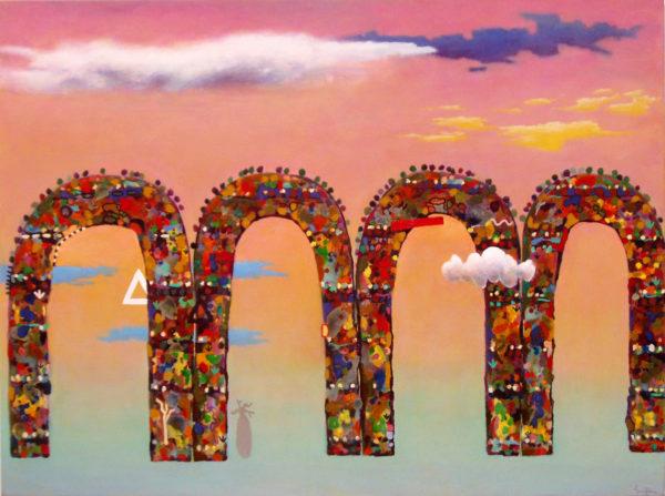 A_sunset  Purnululu 2005 oil on canvas 132x183cm $12500