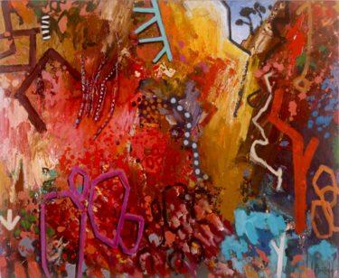Arkaroola mixed media & found objects on canvas 137 x 168