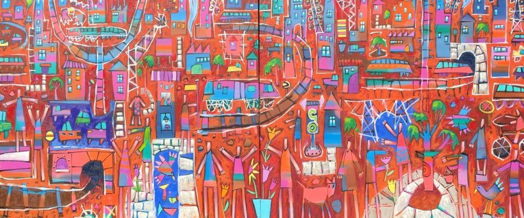 Bruce Earles 120 x 280 cm Rail Riders Oil on canvas