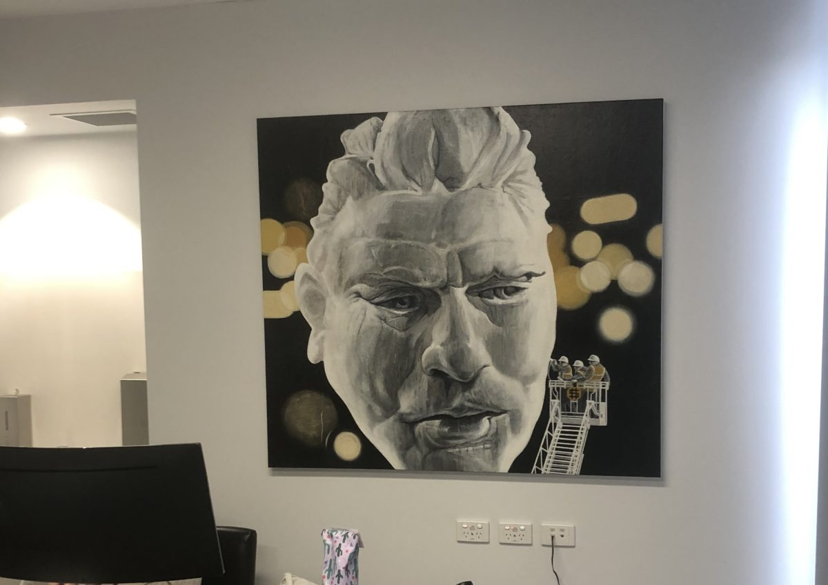Three large Steve Warburton paintings transform new office