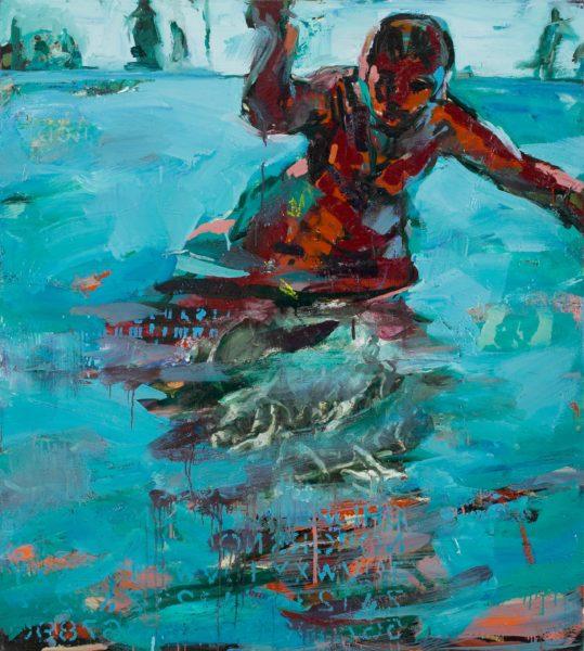 blue painting 150 x 150cm $7500